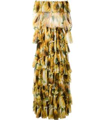 dolce & gabbana strapless sunflower print tiered dress - yellow