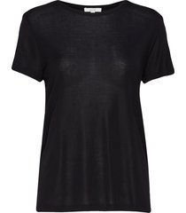 upama rib top t-shirts & tops short-sleeved zwart dagmar