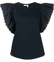 see by chloé butterfly sleeve blouse - blue