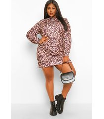 plus luipaardprint sweatshirt jurk met kraag, brown