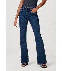 calça jeans feminina modelagem flare com elastano - feminino