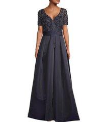 theia women's duchess embellished satin ballgown - navy - size 14