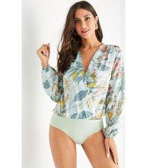 yoins abrigo con estampado floral al azar gree diseño body de satén