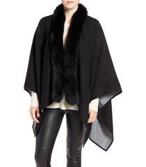 women's burberry merino wool cape with genuine fox fur trim, size one size - grey