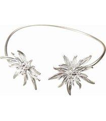 bransoletka srebrna z białymi szarotkami