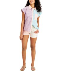 style & co cotton colorblocked striped camp shirt, created for macy's