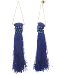 catherine malandrino women's blue rhinestone dangling yellow gold-tone blue tassel earrings