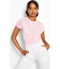 cap sleeve high neck tie dye rib top, pale pink