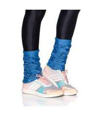 outros mulher elastica polaina fitness microfibra - azul médio - u azul