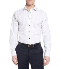 men's big & tall david donahue luxury non-iron trim fit check dress shirt, size 18.5 - 36/37 - blue