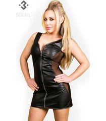 * soleil by xxx collection zwarte leren getailleerde jurk met transparante zijkanten