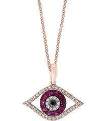 effy women's 14k rose gold pink ruby, black & white diamond evil eye pendant necklace