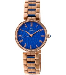 empress catherine automatic blue dial, rose gold stainless steel watch 36mm