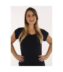 blusa t-shirt prime confort fec fashion básica preta