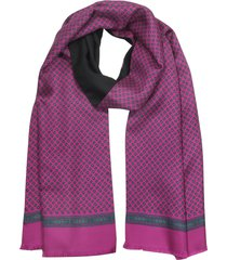 laura biagiotti designer men's scarves, fuchsia paisley print silk and black wool men's reversible scarf w/fringes