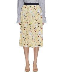 graphic print colourblock waist pleated midi skirt