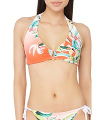 women's trina turk costa de prata reversible halter bikini top, size 4 - orange
