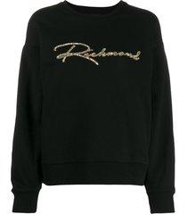 john richmond sequinned logo sweatshirt - black