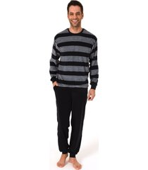 heren badstof pyjama normann 93486-62-blauw