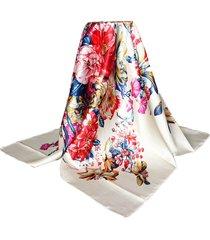 """35 """"* 35"""" donne beige vintage fiore stampato sciarpa di seta quadrata di seta-raso"""