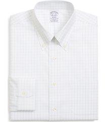 brooks brothers regent regular fit windowpane dress shirt, size 16.5 - 32 in fresh white at nordstrom