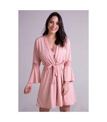 hobby roupão bravaa modas robe amarrar lingerie 241 rosa