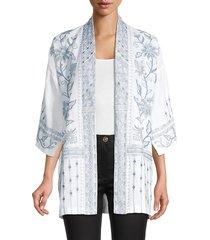 johnny was women's maike embroidery linen kimono jacket - white - size xs