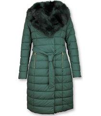 macleria lange dames winterjas parka – met bontkraag – groen zwart