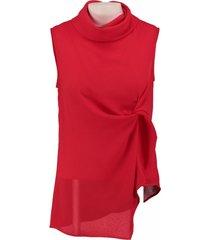 amélie & amélie rode polyester blouse top valt kleiner
