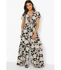 bloemenprint wide leg jumpsuit met laag decolleté, black