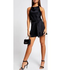 river island womens black cowl halter neck satin playsuit