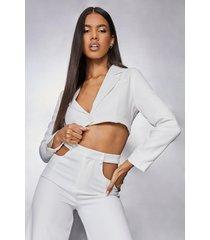 korte boxy blazer, white