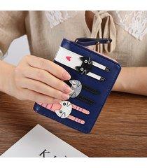 billetera mujeres- monedero de cuero de la pu de las-azul