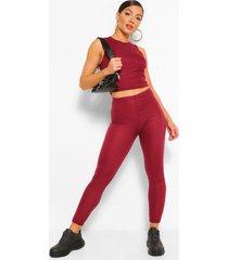 bandage rib racer crop top and leggings set, wine