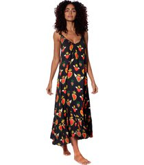 secret heart print gown with shoulder straps
