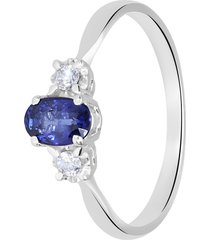 anello in oro bianco, zaffiro 0,60 ct e diamanti 0,08 ct per donna