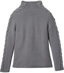 wollen pullover met mooi kabelbreisel, kiezel 40/42