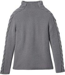 wollen pullover met mooi kabelbreisel, kiezel 36