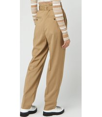 jw anderson women's belted tapered trousers - beige - uk 12
