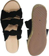 sandalia plana negra yute
