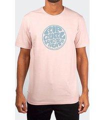 camiseta rip curl wettie logo rosa claro
