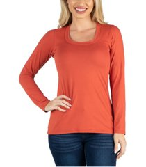24seven comfort apparel scoop neck long sleeve solid color tee