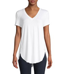 saks fifth avenue women's high-low v-neck top - navy - size xs