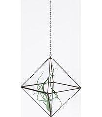 wisząca doniczka, osłonka szklana, geometryczna