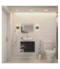 conjunto para banheiro gabinete com cuba folha l38 e espelheira soft 600 branco com preto ônix