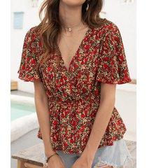 camicetta in vita elastica a maniche corte con scollo a v stampa floreale per donna