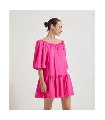 vestido manga 3/4 bufante recorte maria na barra | cortelle | rosa | pp