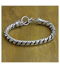 sterling silver braided bracelet, 'strength and valor' (indonesia)
