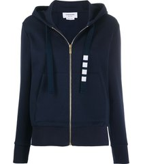 thom browne zip up hoodie in compact double knit cotton with 4-bar