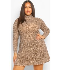 plus geribbelde luipaardprint swing jurk met hoge kraag, brown